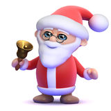 3d Santa rings his bell. 3d render of Father Christmas ringing a gold bell Stock Photo