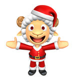 3D Santa Sheep mascot has been welcomed with both hands. 3D Anim Stock Image
