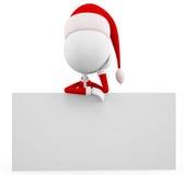 3d Santa with sign board Stock Photos