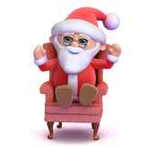 3d Santa sits in his comfortable chair Royalty Free Stock Photos