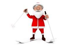 3d santa ski concept Royalty Free Stock Photos