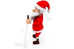 3d santa ski concept Royalty Free Stock Image