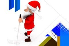 3d santa ski  illustration Royalty Free Stock Image