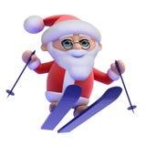 3d Santa ski jumping Royalty Free Stock Photos
