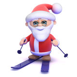 3d Santa on skis Royalty Free Stock Photography