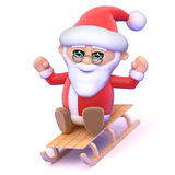 3d Santa on a sledge Stock Photos