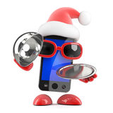 3d Santa smartphone delivers silver service Royalty Free Stock Images