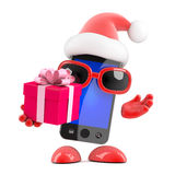 3d Santa smartphone has a gift for you Royalty Free Stock Photos