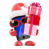 3d Santa smartphone has lots of gifts Royalty Free Stock Images
