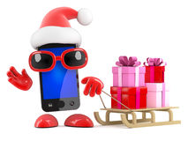 3d Santa smartphone has a sled full of Xmas gifts Royalty Free Stock Photo