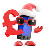 3d Santa smartphone holds a UK Pounds Sterling symbol. 3d render of a smartphone dressed as Santa Claus holding a UK Pounds Sterling symbol stock illustration