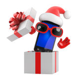 3d Santa smartphone jumps out of the box Stock Photos