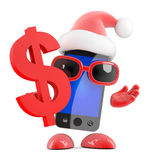 3d Santa smartphone loves US Dollars Royalty Free Stock Photo