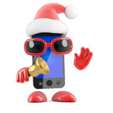 3d Santa smartphone rings his bell Royalty Free Stock Images