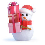 3d Santa snowman Christmas gifts Royalty Free Stock Photo