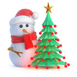 3d Santa snowman Christmas tree. 3d render of a snowman in Santa hat next to a Christmas tree Stock Photography