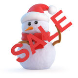 3d Santa snowman holding a Sale sign Royalty Free Stock Photos