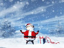 3D Santa in a snowy landscape with gift. 3D render of Santa in a snowy landscape with gift stock illustration