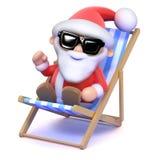 3d Santa sunbathes Stock Images