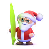 3d Santa surfs Stock Images