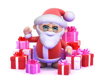 3d Santa surrounded by Christmas gifts Royalty Free Stock Images