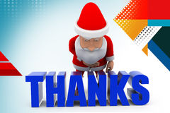 3d santa thanks  illustration Royalty Free Stock Photography