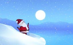 3D Santa w śnieżnym krajobrazie royalty ilustracja