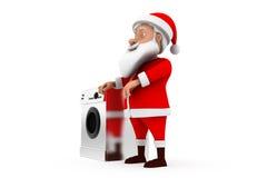 3d santa washing machine concept Royalty Free Stock Photo