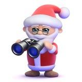 3d Santa watches through binoculars. 3d render of Santa Claus holding a pair of binoculars Stock Images