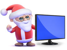 3d Santa with widescreen lcd television monitor Royalty Free Stock Images