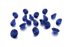 3D Sapphire - 18 Blue Gems Stock Image