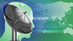 3d sat antenna. Abstract 3d gree background with sat antenna head silhouette and earth Stock Photo