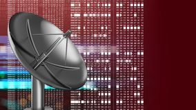3d sat antenna. Abstract 3d red background with sat antenna and hexadecimal code Stock Photo