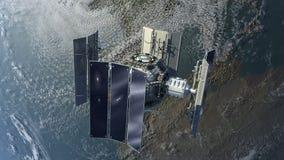 3D satelita przegląda ziemię ilustracji