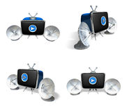 3D Satellite antenna and the TV icon. 3D Icon Design Series. Stock Photo