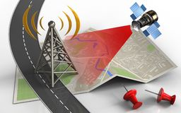 3d satellite. 3d illustration of map paper with antenna and red pins Royalty Free Stock Image