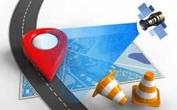 3d satellite digital signal. 3d illustration of blue map with point icon and repair cones Stock Photos