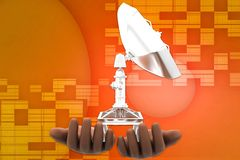 3d Satellite dish onhuman hand illustration Royalty Free Stock Photography