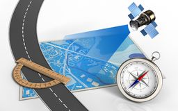 3d satellite. 3d illustration of blue map with protractor and compass Stock Images