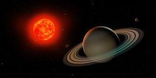 3d Saturn z słońcem Zdjęcia Stock