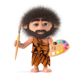 3d Savage caveman is also an artist Royalty Free Stock Photography