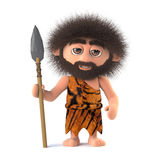 3d Savage caveman with spear Stock Image