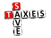 3D Save Taxes Crossword Stock Image