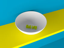 3d save text in bowl Stock Photos