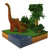 3d scène met dinosaurussen Stock Afbeeldingen