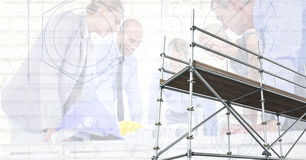 3D scaffolding with architects and blueprint background. Digital composite of 3D scaffolding with architects and blueprint background Stock Photos