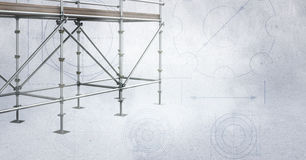 3D scaffolding on soft grey background. Digital composite of 3D scaffolding on soft grey background stock illustration