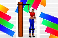 3d Scale Women scaling Illustration Stock Photography