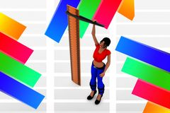 3d Scale Women scaling Illustration Stock Images