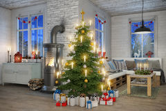 3d - scandinavian flat - christmas Royalty Free Stock Photo